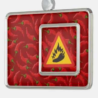 Hot pepper danger sign silver plated framed ornament