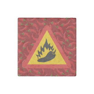Hot pepper danger sign stone magnet