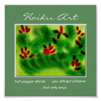 Hot Pepper Shrub Haiku Art Print