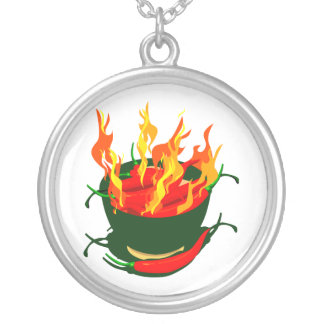 Hot peppers in green cup flames silver plated necklace