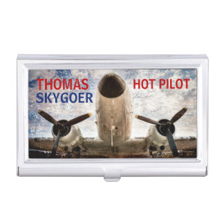Hot pilot charter airline funny customizable business card holder