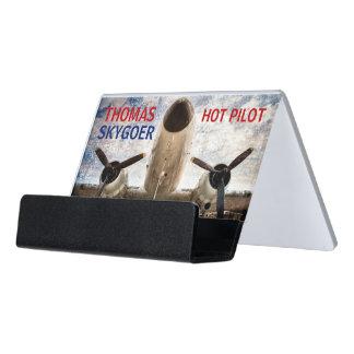 Hot pilot charter airline funny customizable desk business card holder
