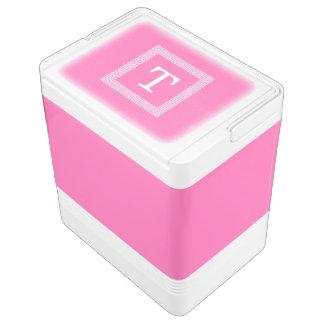 Hot Pink2 Wht Greek Key Frame #1 Initial Monogram Cooler