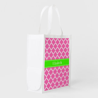 Hot Pink2 Wht Moroccan #5 Lime Green Name Monogram Market Tote