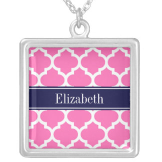 Hot Pink2 Wht Moroccan #5 Navy Blue Name Monogram Custom Necklace