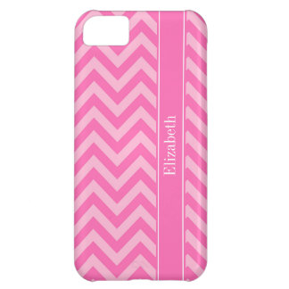 Hot Pink 2 Cotton Candy LG Chevron Name Monogram iPhone 5C Cover
