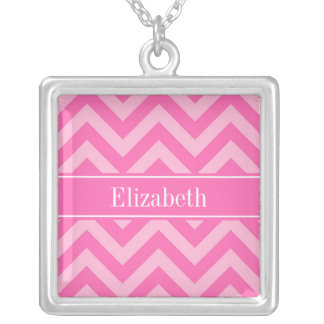 Hot Pink 2 Cotton Candy LG Chevron Name Monogram Jewelry