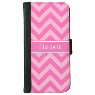 Hot Pink #2 Cotton Candy LG Chevron Name Monogram iPhone 6 Wallet Case