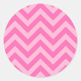 Hot Pink 2, Cotton Candy LG Chevron ZigZag Pattern Round Sticker