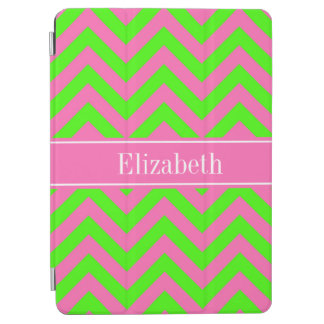 Hot Pink #2 Lime Green LG Chevron Name Monogram iPad Air Cover
