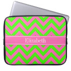 Hot Pink #2 Lime Green LG Chevron Name Monogram Laptop Sleeve