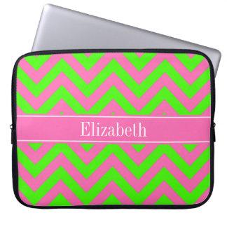Hot Pink #2 Lime Green LG Chevron Name Monogram Laptop Sleeve