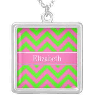 Hot Pink 2 Lime Green LG Chevron Name Monogram Jewelry