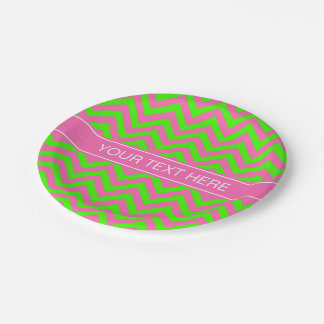 Hot Pink #2 Lime Green LG Chevron Name Monogram Paper Plate