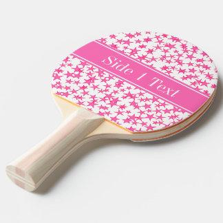 Hot Pink 2 Stars White BG, Hot Pink Name Monogram Ping Pong Paddle