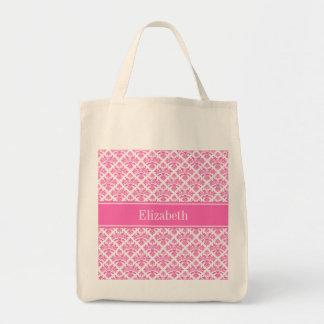 Hot Pink 2 Wht Damask #3 Hot Pink Name Monogram