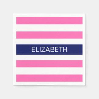 Hot Pink #2  Wht Horiz Stripe Navy Name Monogram Paper Serviettes