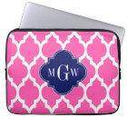 Hot Pink #2 Wht Moroccan #4 Navy Name Monogram Laptop Sleeve
