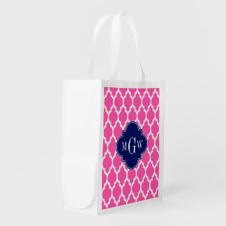 Hot Pink #2 Wht Moroccan #4 Navy Name Monogram Reusable Grocery Bags
