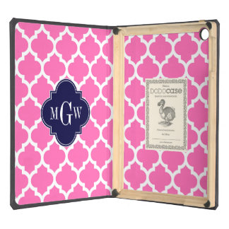 Hot Pink 2 Wht Moroccan 5 Navy 3 Initial Monogram iPad Air Case