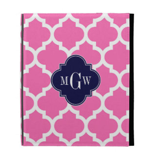 Hot Pink 2 Wht Moroccan 5 Navy 3 Initial Monogram iPad Cases