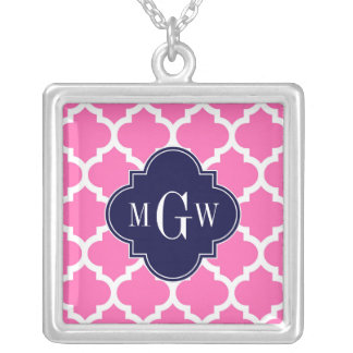 Hot Pink#2 Wht Moroccan #5 Navy 3 Initial Monogram Custom Necklace