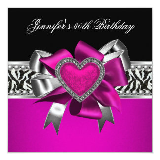 Hot Pink 30th Birthday Party Zebra Black Card