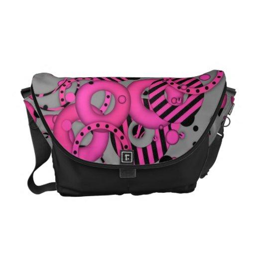 Hot Pink  3D Circle Pattern Rickshaw Messenger Bag