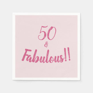 Hot Pink 50 and Fabulous Birthday Party Disposable Serviette