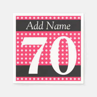 Hot Pink 70th Birthday Polka Dots Personalized Disposable Serviette