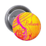 Hot pink abstract, Believe badge.