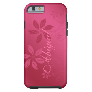 Hot Pink Abstract Floral Custom Name iPhone 6 case Tough iPhone 6 Case