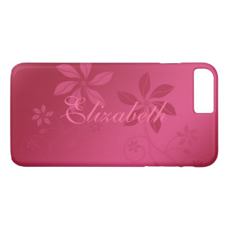 Hot Pink Abstract Floral Custom Name iPhone 8 Plus/7 Plus Case