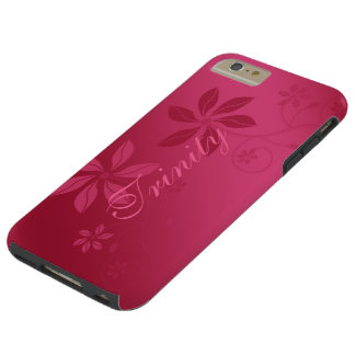 Hot Pink Abstract Floral Satin Look Personalized Tough iPhone 6 Plus Case