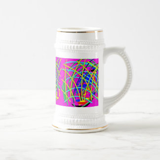 Hot Pink Abstract Girly Doodle Design Novelty Gift Mugs