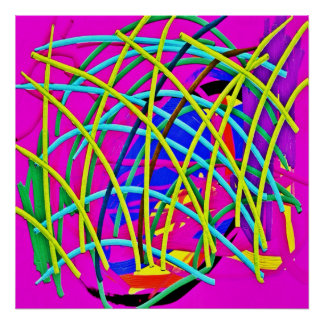 Hot Pink Abstract Girly Doodle Design Novelty Gift Posters