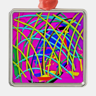 Hot Pink Abstract Girly Doodle Design Novelty Gift Silver-Colored Square Decoration
