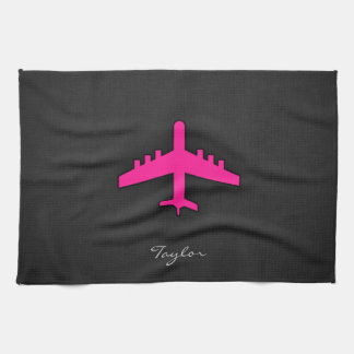 Hot Pink Airplane Kitchen Towel