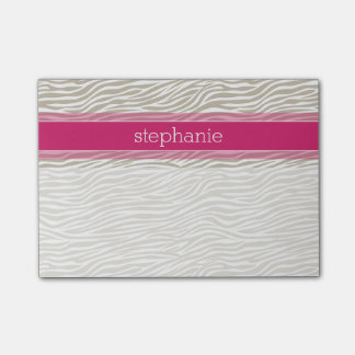 Hot Pink and Beige Funky Zebra Pattern Post-it Notes