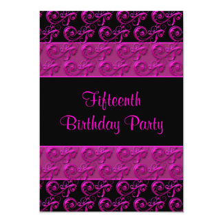 Hot Pink and Black 15th Birthday Party Card