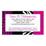 Hot Pink and Black Animal Print Zebra and Leopard Business Card Templates