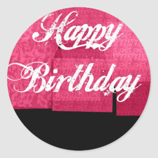 Hot Pink and Black Birthday Stickers
