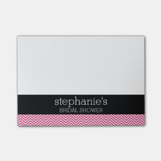 Hot Pink and Black Bridal Shower Chevrons Post-it Notes