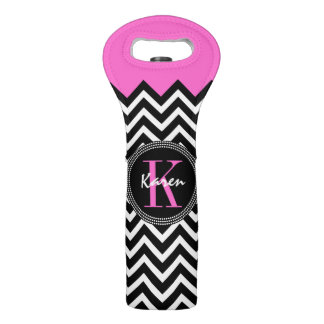 Hot Pink and Black Chevron Monogrammed Wine Bag
