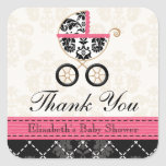 HOT PINK and Black Damask Baby Carriage Thank You