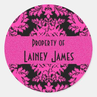 Hot Pink and Black Damask Round Sticker