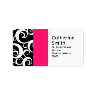 Hot Pink and Black Damask Swirls Address Labels