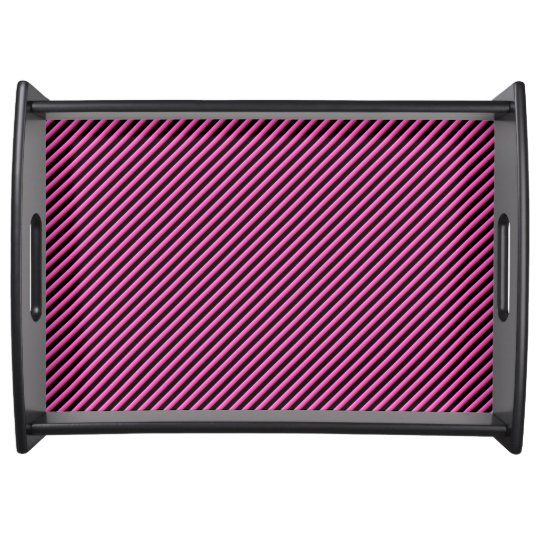 Hot Pink and Black Diagonal Striped Food Tray