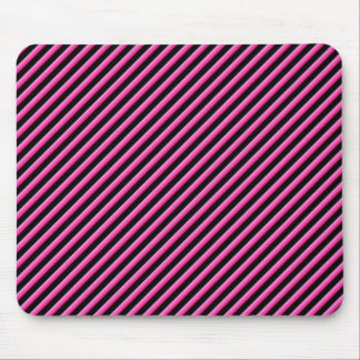Hot Pink and Black Diagonal Striped Mouse Pad