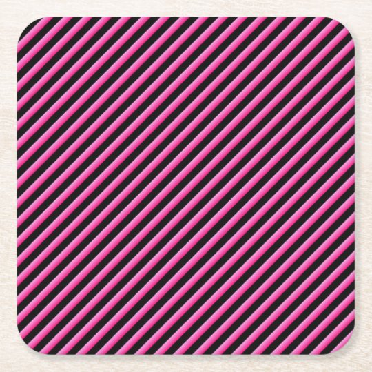 Hot Pink and Black Diagonal Striped Square Paper Coaster